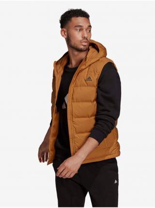 Svetlohnedá pánska prešívaná vesta s kapucou adidas Performance Helionic Vest pánské S