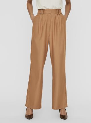 Svetlohnedé široké nohavice AWARE by VERO MODA Minna dámské svetlohnedá L