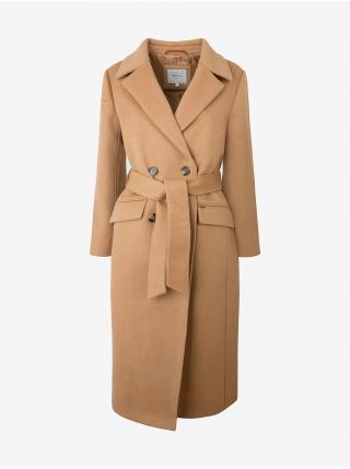 Svetlohnedý dámsky dlhý vlnený kabát so zaväzovaním Pepe Jeans Mica dámské svetlohnedá L