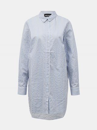 Svetlomodrá pruhovaná dlhá košeľa Pieces Sheridan dámské S