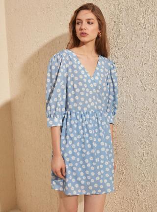 Svetlomodré kvetované šaty Trendyol - S dámské modrá S