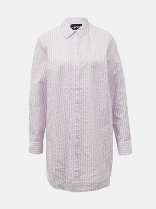 Svetloružová pruhovaná dlhá košeľa Pieces Sheridan dámské S