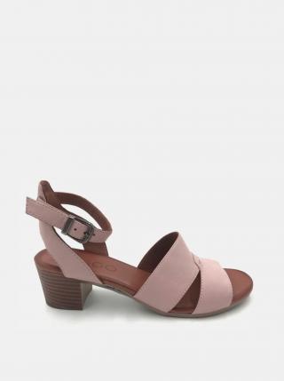 Svetloružové kožené sandálky na podpätku WILD dámské svetloružová 40