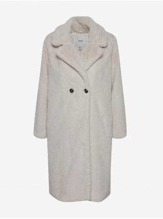 Svetlošedý dámsky kabát z umelého kožúšku ICHI dámské svetlosivá M