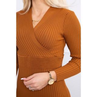 Sweater - Dress fitted with a V-neck camel dámské Neurčeno One size