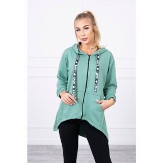 Sweatshirt with longer back and hood dark mint dámské Neurčeno One size