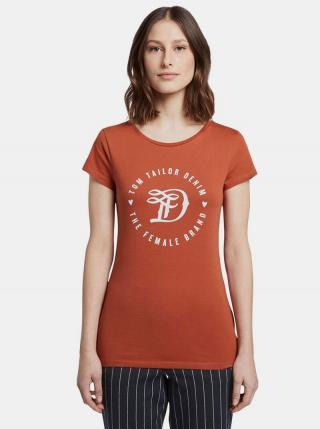 Tehlové dámske tričko s potlačou Tom Tailor Denim dámské tehlová XS