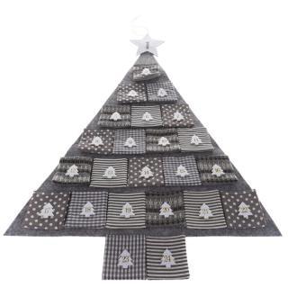 Textilný adventný kalendár Gray tree, 68 x 68 cm