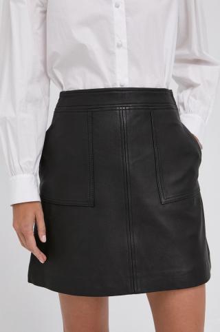 The Kooples - Kožená sukňa dámské čierna XL