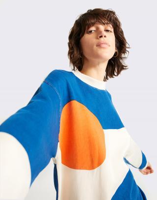 Thinking MU Abstract Fullprinted Sweatshirt BONE M dámské Béžová M