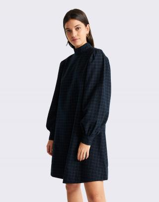 Thinking MU Navy Checks Flora Dress NAVY L dámské Modrá L