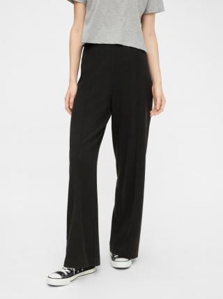 Tmavo šedé široké nohavice Pieces - XS dámské sivá XS