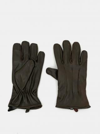 Tmavohnedé kožené rukavice Jack & Jones Montana pánské tmavohnedá L-XL
