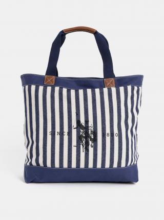 Tmavomodrá dámska pruhovaná taška U.S. Polo Assn. dámské