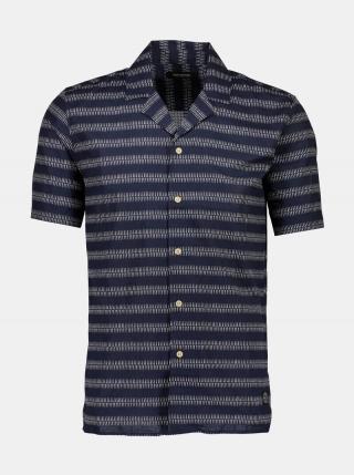 Tmavomodrá vzorovaná košeľa s prímesou ľanu Shine Original pánské M