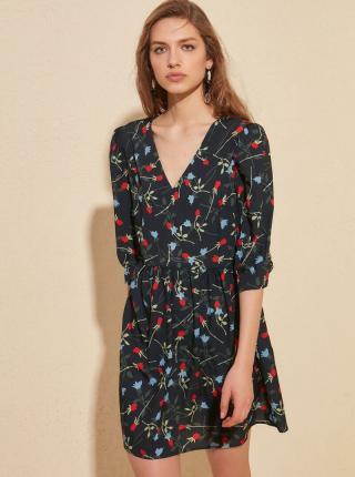 Tmavomodré kvetované šaty Trendyol - L dámské modrá L