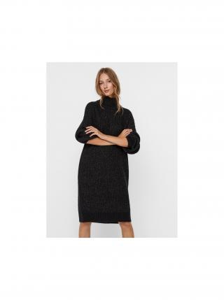 Tmavošedé svetrové šaty s rolákom Noisy May Robina dámské tmavosivá XS