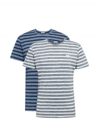 TOM TAILOR Tričko  biela / nebesky modrá / modrosivá / sivá pánské S