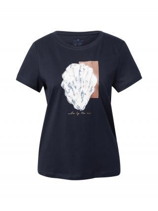 TOM TAILOR Tričko  tmavomodrá / námornícka modrá / biela / staroružová dámské XS