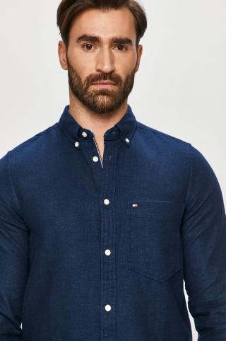 Tommy Hilfiger - Bavlnená košeľa pánské tmavomodrá S