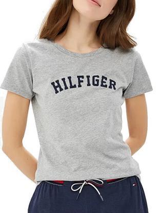 Tommy Hilfiger Dámske tričko Cotton Iconic Logo SS Tee Print UW0UW00091-004 Grey Heather M