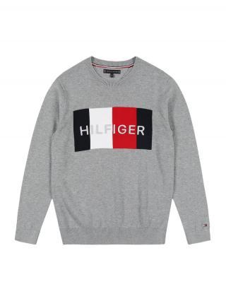 TOMMY HILFIGER Mikina  sivá melírovaná / čierna / biela / červená pánské 116