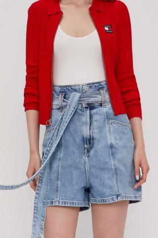 Tommy Jeans - Rifľové krátke nohavice dámské modrá 26