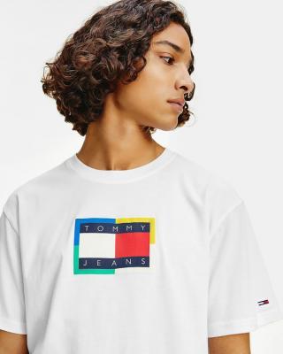 Tommy Jeans TJM Multicolor Flag Tee Biela pánské M