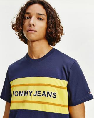Tommy Jeans TJM Stripe Colorblock Tee Tričko Modrá pánské M