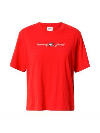 Tommy Jeans Tričko  červená / strieborná dámské XS