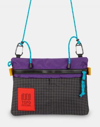 Topo Designs Carabiner Shoulder Accessory Bag Purple/Black Ripstop Fialová