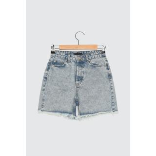 Trendyol 100% Organic Cotton Denim Shorts WITH Blue Wash Effect Tassels dámské Navy 42