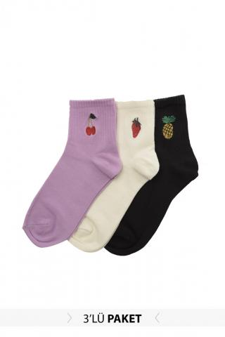 Trendyol 3 Multi-Color Embroidered Knitted Socks dámské One size