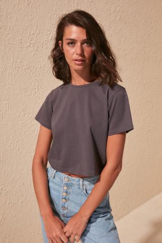 Trendyol Anthracite 100% Cotton Bike Collar Crop Knitted T-Shirt dámské S