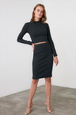 Trendyol Anthracite 2-KnitTed Bottom-Top Tool dámské XS