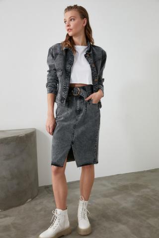 Trendyol Anthracite BeltEd Pocket Detailed Denim Skirt dámské 34