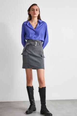 Trendyol Anthracite Belted Skirt dámské 34