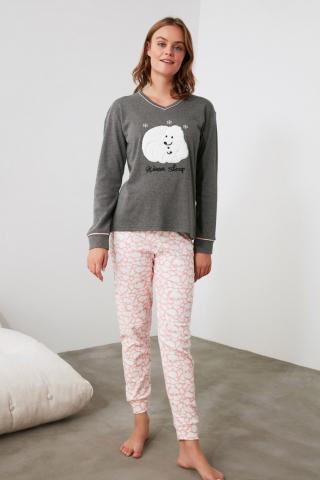 Trendyol Anthracite Embroidered Knitted Pajama Set dámské SMOKY S