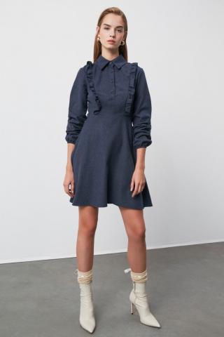 Trendyol Anthracite Frill dress dámské 34