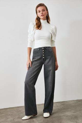 Trendyol Anthracite Front Button High Waist Wide Leg Jeans dámské 34