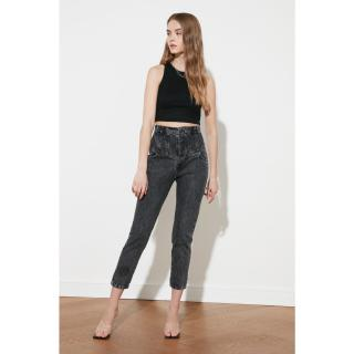 Trendyol Anthracite Front Buttoned Waist Detail High Waist Mom Jeans dámské 40