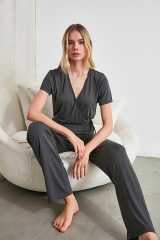 Trendyol Anthracite Knitted Pajama Set dámské L