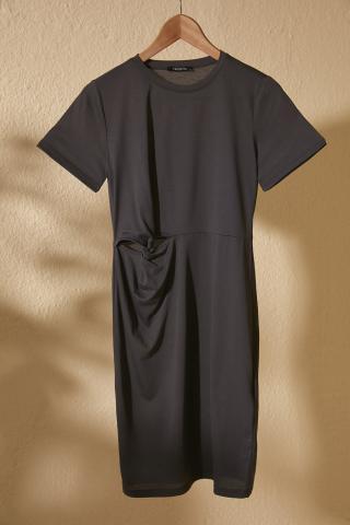 Trendyol Anthracite Knot Detailed Mini Knitting Dress dámské XS