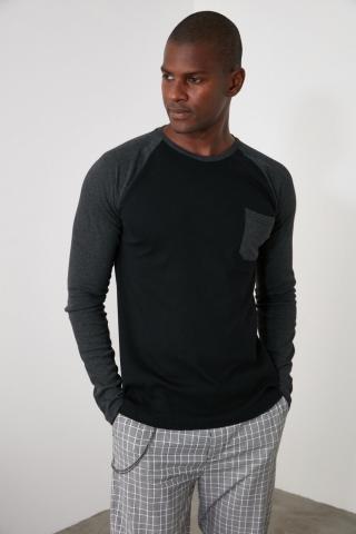 Trendyol Anthracite Mens Bike Collar Long Sleeve New T-Shirt pánské M