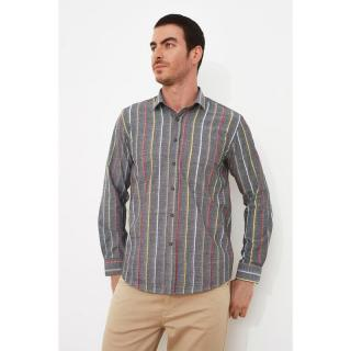 Trendyol Anthracite Mens Regular Fit Shirt Collar Long Sleeve Shirt pánské S