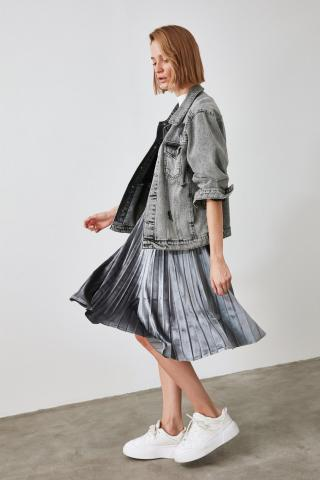 Trendyol Anthracite Pleated Knitted Skirt dámské XS