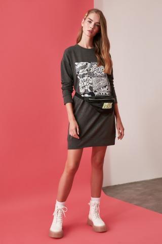 Trendyol Anthracite Printed Knitted Sweat Dress dámské XS