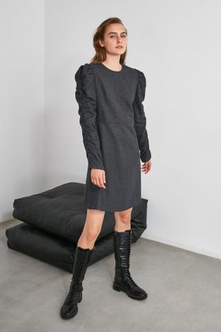 Trendyol Anthracite Sleeve Detailed Dress dámské 34