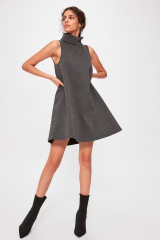 Trendyol Anthracite Steep Collar Knitted Dress dámské L