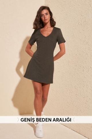 Trendyol Anthracite V Collar Knitting Dress dámské M
